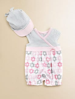 Offspring - Infant's Daisy Striped Romper & Cap Set