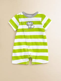 Offspring - Infant's Monkey Striped Cotton Shortall