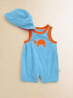 Offspring - Infant's Terry Turtle Shortall & Sun Hat Set