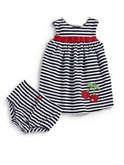 Hartstrings - Infant's Striped Cherry Dress & Bloomers Set
