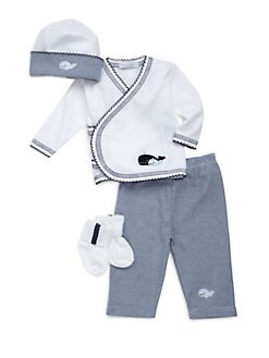 Royal Baby - Infant's Whale Motif 4-Piece Set/Navy