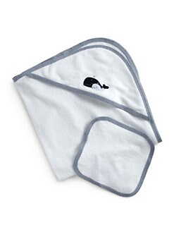 Royal Baby - Infant's Whale-Motif Towel Set/Blue