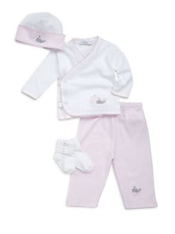 Royal Baby - Infant's Whale-Motif 4-Piece Set/Pink