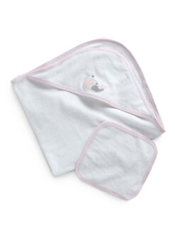 Royal Baby - Infant's Two-Piece Whale-Motif Towel Set/Pink