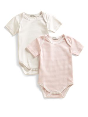 Infant's Stripe & Solid Bodysuit Two-Pack