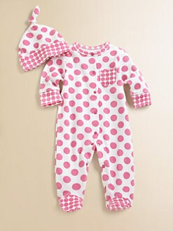 Offspring - Infant's Rose Polka Dot Footie & Hat Set