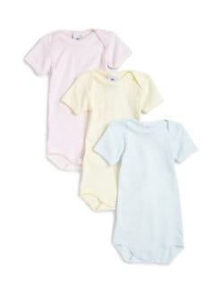 Petit Bateau - Infant's Three-Piece Solid Cotton Bodysuit Set