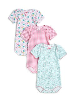 Petit Bateau - Infant's Three-Piece Printed Cotton Bodysuit Set