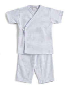Kissy Kissy - Infant's Striped Kimono Top/Blue