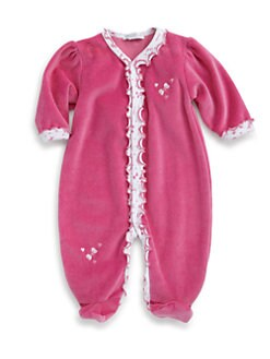 Kissy Kissy - Infant's À La Mode Bow Velour Footie