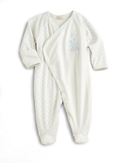 Kissy Kissy - Infant's Ecru Polka Dot Crossover Footie