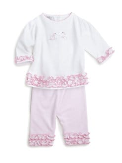 Kissy Kissy - Infant's Two-Piece Poodles In Paris Ruffle Top & Pants Set