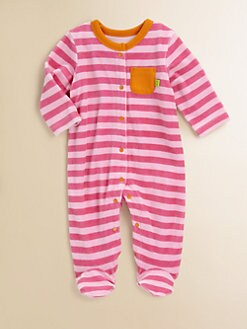 Offspring - Infant's Striped Velour Footie