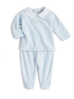 Kissy Kissy - Infant's Two-Piece Moon & Stars Velour Shirt & Footed Pants Set