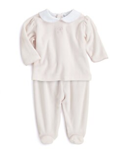 Kissy Kissy - Infant's Two-Piece Velour Bow Shirt & Footed Pants Set