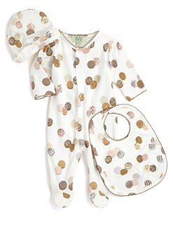 Kissy Kissy - Infant's Truffles Footie, Hat & Bib Set