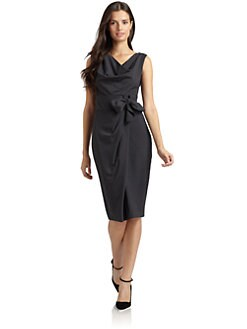 Magaschoni - Wool Sleeveless Side Tie Dress/Dark Grey