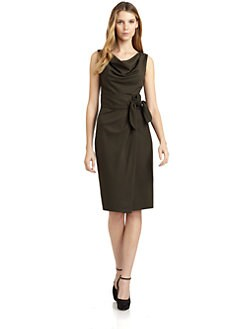 Magaschoni - Wool Sleeveless Side Tie Dress/Deep Olive
