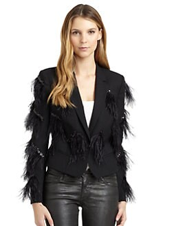Magaschoni - Feather Detail Cropped Jacket