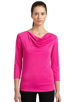 Natori - Draped Neck Matte Jersey Top