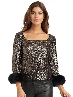 Badgley Mischka - Sequined Blouse Fur Cuff Blouse