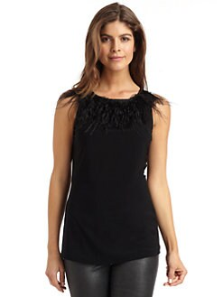 Badgley Mischka - Feather Fringe Neck Tank Top