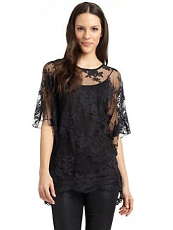 Nicole Miller - Lace Cold-Shoulder Top