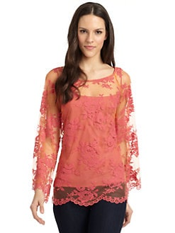 Nicole Miller - Bell-Sleeve Lace Top