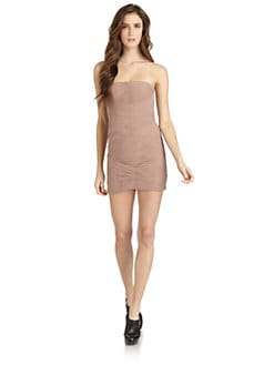 BCBGMAXAZRIA - Ruched Basketweave Cocktail Dress