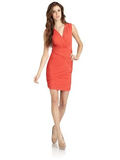BCBGMAXAZRIA - Lou Ruched Open Back Cocktail Dress