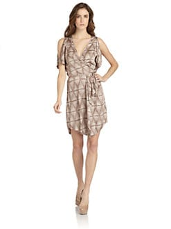 BCBGMAXAZRIA - Holden Satin Printed Wrap Dress