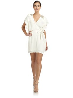 ERIN by Erin Fetherston - Embellished Ruffle Wrap Dress