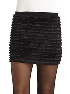ERIN by Erin Fetherston - Metallic Fringe Mini Skirt