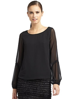 ERIN by Erin Fetherston - Sheer-Sleeve Blouse