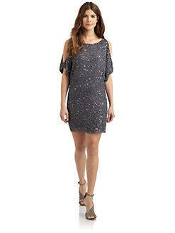 Aidan Mattox - Beaded Silk Cold-Shoulder Dress