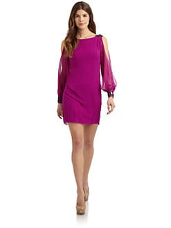 Aidan Mattox - Jeweled Silk Chiffon Split-Sleeve Dress