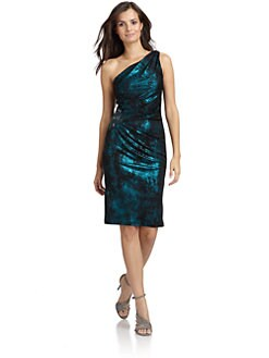 David Meister - Metallic One-Shoulder Dress