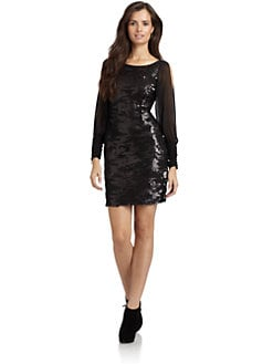 Andrew Marc - Sequin Chiffon Sleeve Dress