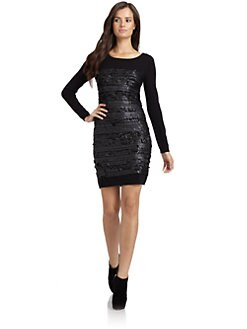 Andrew Marc - Knit Sequin Sweater Dress