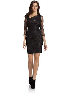 Andrew Marc - Asymmetric Neck Lace Dress
