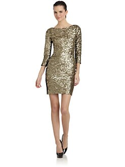 Andrew Marc - Jersey Inset Sequin Dress