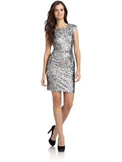 Andrew Marc - Sequin Cap Sleeve Cutout Dress