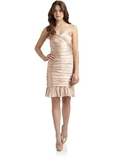 Jill by Jill Stuart - Ruched Satin Strapless Dress