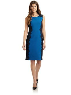 Chetta B - Lace-Trimmed Crepe Dress
