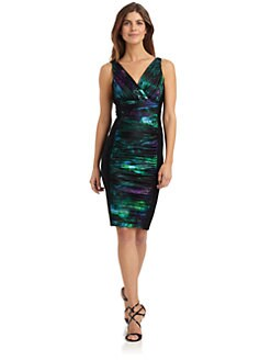 Love,Carmen - Ruched Print Block Cocktail Dress