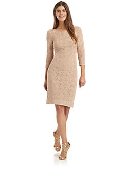 Carmen Marc Valvo - Beaded Lace Sheath Dress