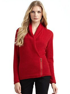 Lafayette 148 New York - Wool & Cashmere Asymmetric Zip Swearer