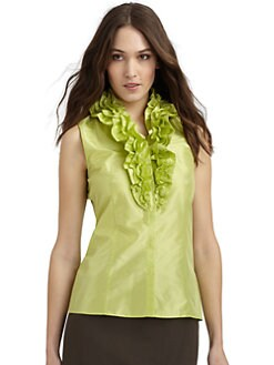Lafayette 148 New York - Tessa Silk Ruffled Collar Blouse