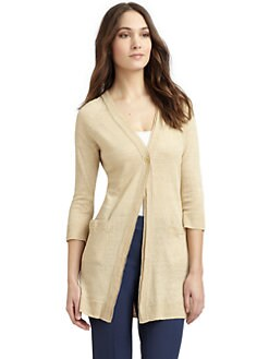 Lafayette 148 New York - Linen Layered Trim Cardigan Sweater
