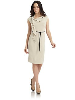 Lafayette 148 New York - Silk Origami Ruffle Cap Sleeve Dress